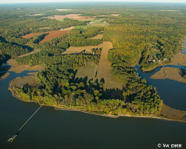 Aerial shot of the Werowocomoco site. Photo courtesy of Chesapeake Conservancy