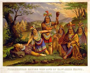 Illustration of Pocahontas saving Captain John Smith. Source: Library of Congress.