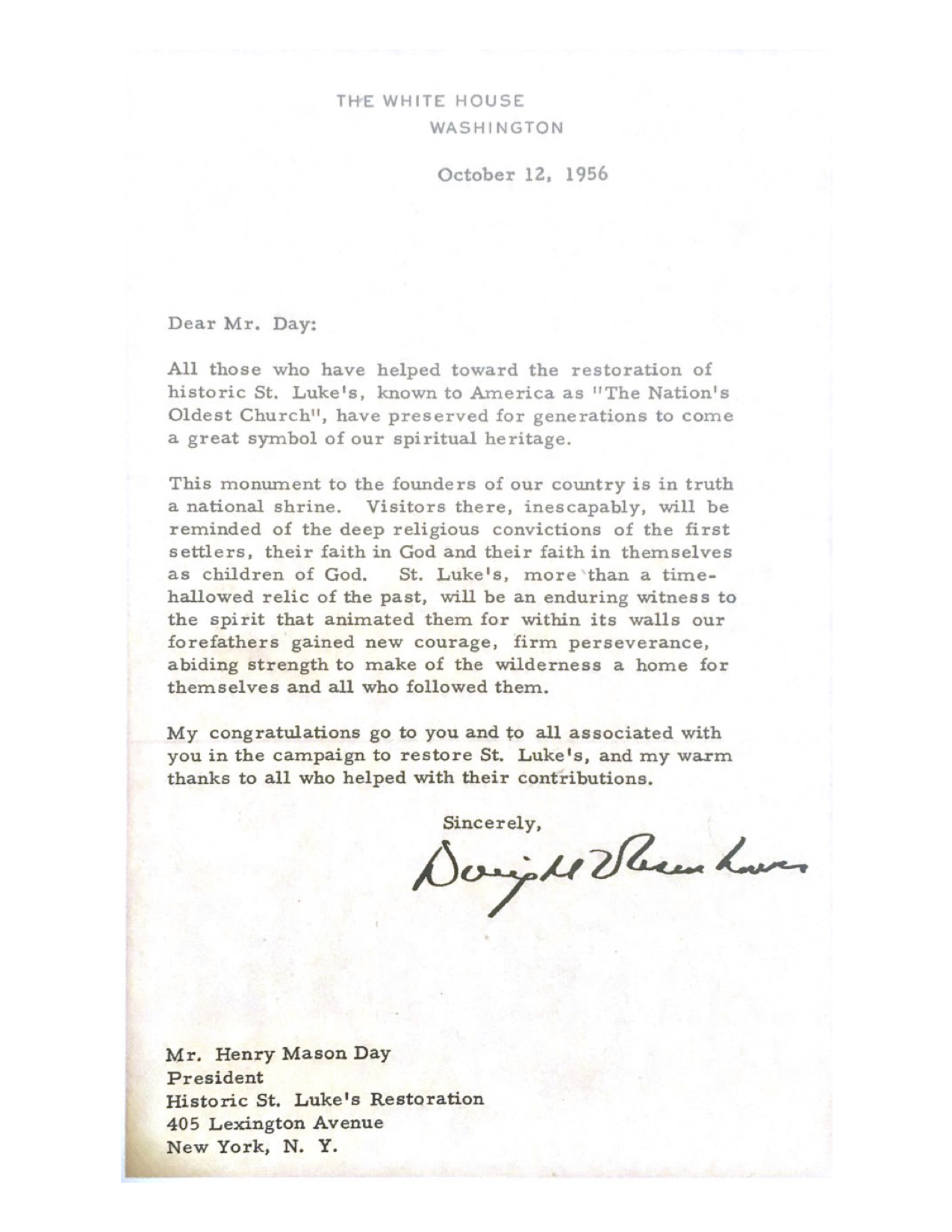 President Eisenhower Letter, October 12, 1956