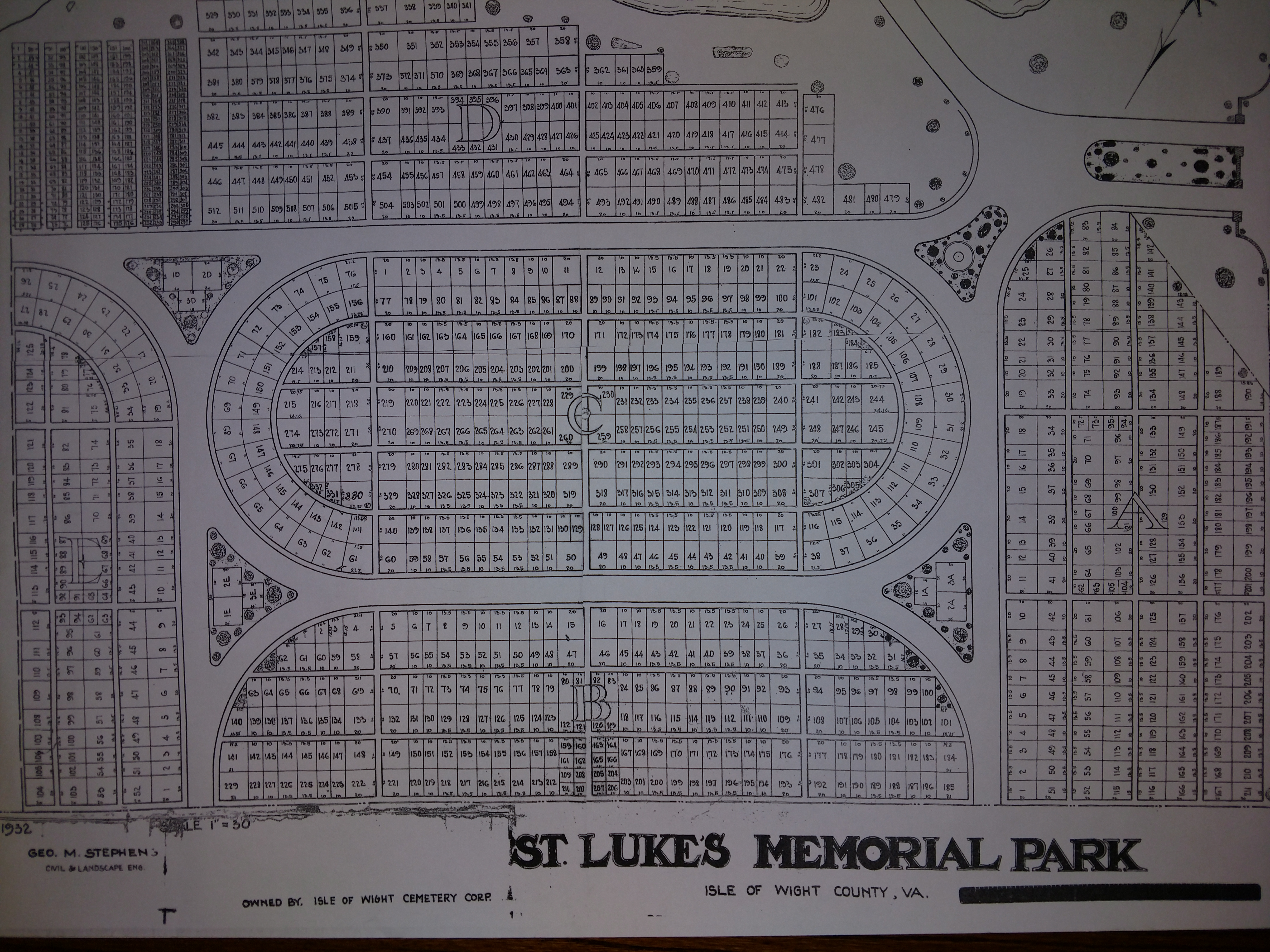 A 1932 Plat of St. Luke's Memorial Park Cemetery